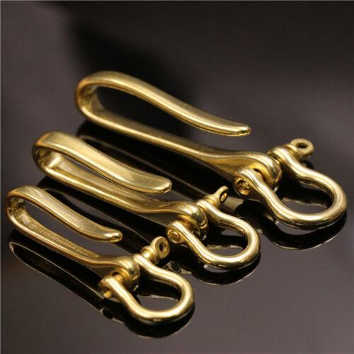1pcs Solid Brass KeyChain Key Ring Belt U Hook Wallet Chain Fish Hook Fob Clip