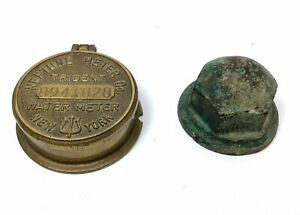 Vintage-BRASS-Neptune-Meter-Co-Cover-Lid-amp-Nut-Cap-New-York-Water-STEAMPUNK