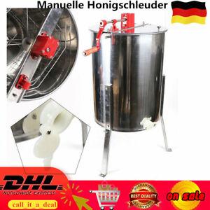 Manueller Honigschleuder 4 Rahmen Waben Honig Edelstahl Imkerei Schleuder NEU*