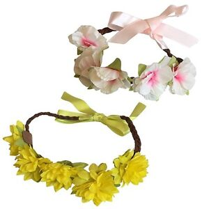 18 Inch Doll Headband Set of Two Flower Wreath w Satin Ribbon Pink and Yellow