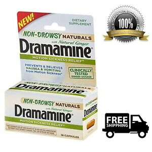 Details about Dramamine Non-Drowsy Naturals Motion Sickness Relief 18-Count  Natural Ginger