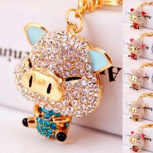 Crystal-Cartoon-Pig-Rhinestones-Keyrings-Handbag-Key-Chain-Jewelry-Decoration