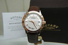 NEW Rotary Swiss Men's Watch Slim Rose Gold plated Light weight watch RRP £160