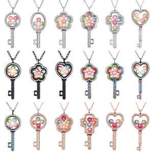 Keys-Living-Memory-Floating-Locket-Pendant-Pearl-Cage-Glass-Locket-Necklace