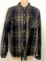 Current Elliott The Slim Boy Shirt Vista Plaid With Fray Size 1 $198