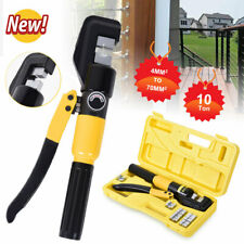 10 Ton Hydraulic Crimper Crimping Tool Wire Battery Cable Lug Terminal With 8 Dies