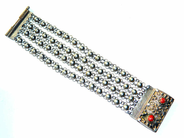 Antique TIBETAN Silver Layered Chain BRACELET w/ Coral Beads, Himalayan Jewelry