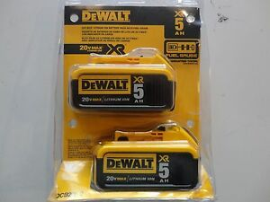 DEWALT-DCB205-2-20V-20-Volt-Lithium-Ion-5-0-AH-Battery-Packs-New-In-Package-NIP