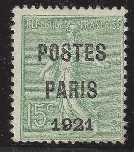 n-28-Preoblitere-POSTE-PARIS-1921-15c-Neuf-sans-gomme-TB-Signe-Calves