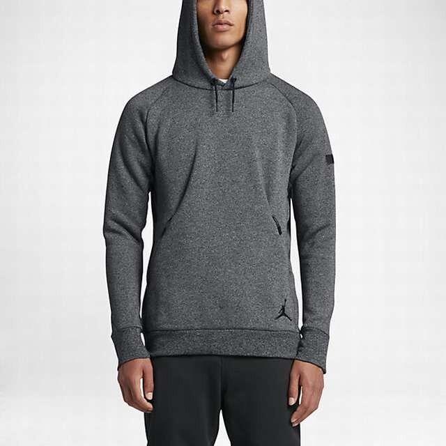 New Men's Jordan Icon Fleece Pull-Over Hoodie (802179-010)  Dark Grey