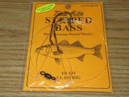 2 STRIPED BASS TIDE RITE R750 HI-LO CLAM RIG SALTWATER FISH RIG MUSTAD