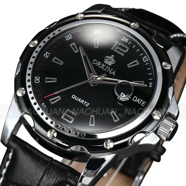 Orkina Fashion Mens Date Black Leather Analog Sport Quartz Military Wrist Watch