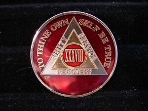 Red Silver Gold Tri-Plate Alcoholics Anonymous AA 38 Year NEW Medallion-Token