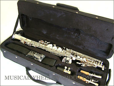 Soprano SAXOPHONE Sax - Nickel/Silver Color -Free Case