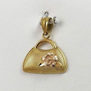 New-14K-Rose-amp-Yellow-Gold-3D-Handbag-Purse-Charm-Pendant-1-1gr