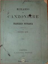 POESIE AMORE: PETRARCA, RIMARIO del CANZONIERE 1879 Barbera compilato da G. Coen