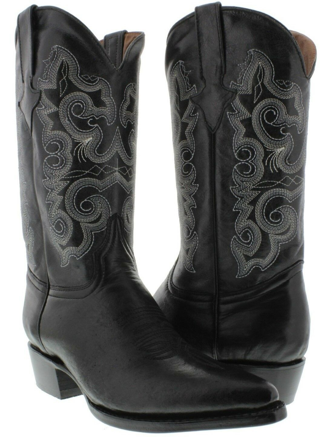 Uomo nero Smooth Smooth Smooth Stitched Leather Design Dress Cowboy stivali Pointed Toe f731e5