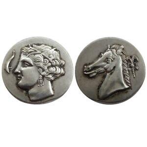 OOAK-Ancient-Greece-Coins-SICULO-PUNIC-Carthage-Tetradrachm-Arethusa-Coin-310-BC