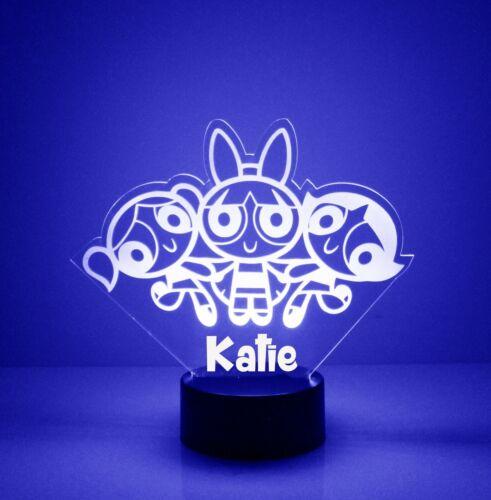 Powerpuff Girls Room Light Up LED Night Light Lamp Personalized FREE Remote