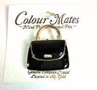 1.5 Colour Mates Enamel Pin Brooch Black & Gold Purse Women's Fashion Shopping