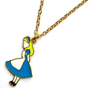 60e25f83b ALICE IN WONDERLAND Necklace Gold & Enamel Charm Girls Funky Pendant ...
