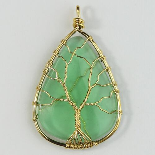 Amethyst Rose Quartz Opalite Teardrop Silver Tree Of Life Pendant For Necklace
