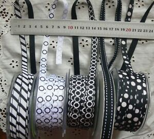 BLACK-amp-WHITE-Grosgrain-10mm-Wide-5-Metre-Lengths-5-Design-Style-Choice