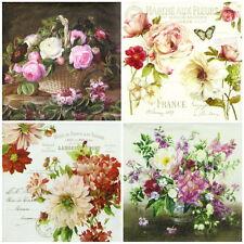 4x Paper Napkins for Decoupage Decopatch Craft Flowers Mix