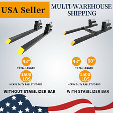 Pallet Forks 1500lbs 43 60 Clamp On Tractor Bucket Skid Steer Loader Attach