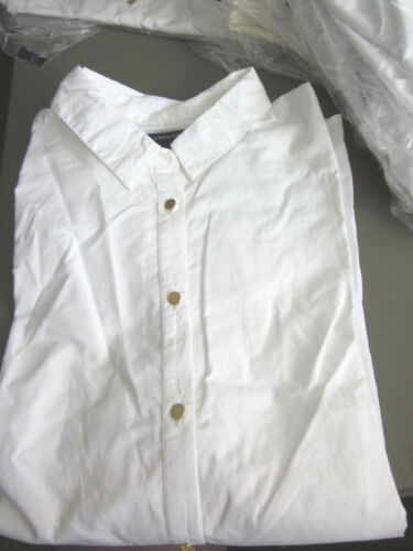 NEW LANDS END WOMENS PERFECT POPOVER WHITE BLOUSE SIZE 18