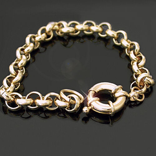 """7mm 14k Yellow GOLD EP NEW BELCHER LINK 16/"""" Necklace /& Bolt Ring"""