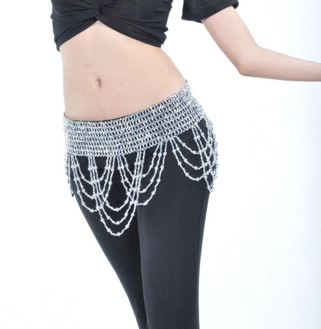 New Belly Dance costume Hip Scarf Belt Handmade Waist beads Gold/Silver