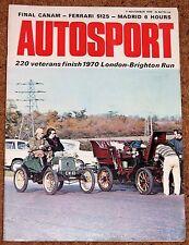 Autosport 5/11/70* FERRARI 512S - LONDON to BRIGHTON RUN - RIVERSIDE CANAM