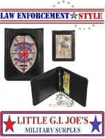 Black Leather Identification Holder With Neck ID & Law Enforcement Badge Office Supplies