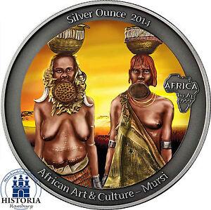 Mursi-1-Silver-Ounce-Antik-Finish-2014-Kongo-1000-Francs-Silber-1-Unze-in-Farbe