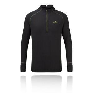 Ronhill-Uomo-Stride-Matrix-1-2-Zip-T-Shirt-Tee-Top-nero-Sport-Running