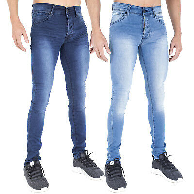Offen New Mens Super Skinny Stretch Jeans Vintage Punk Retro Stonewash Lightwash By Ad
