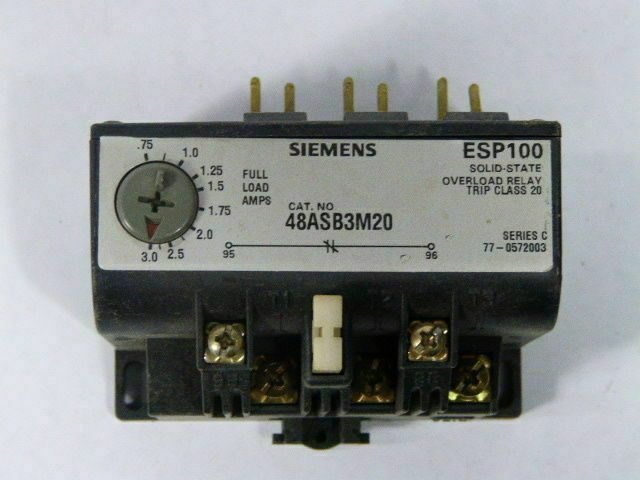 SIEMENS 48ASB3M20 SOLID STATE OVERLOAD RELAYS