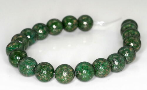 10MM GREEN PYRITE INCLUSIONS QUARTZ GEMSTONE ROUND LOOSE BEADS 7.5/""