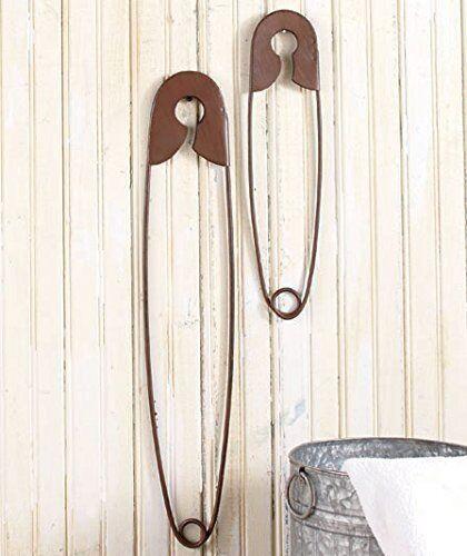 Lot de 2 grandes suspendus épingles de sûreté rustique couleur Buanderie Wall Home decoratio