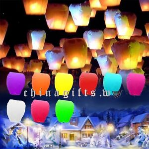 Multi-color-Paper-Chinese-Kongming-Lanterns-Sky-Fire-Fly-Candle-Lamp-Wish-Party