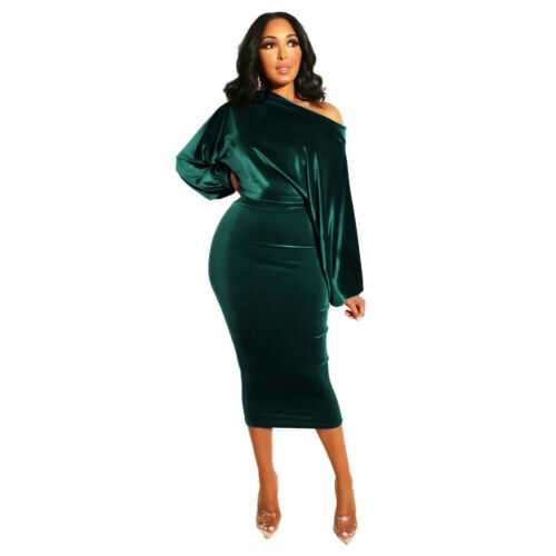 NEW Stylish Women/'s Long Sleeves Boat Neck Solid Color Bodycon Midi Dress Club