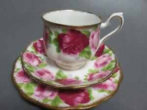 OLD-ENGLISH-ROSE-ROYAL-ALBERT-CUP-amp-SAUCER-TRIO-1950-039-S