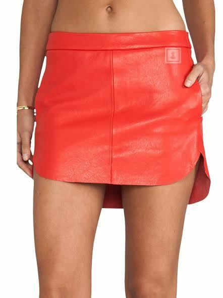 Leather Women Skirt Red new