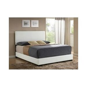 White Queen Bed Frame Size Faux Leather Bedroom Headboard