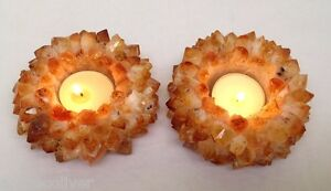 2x Citrine Point Lotus Flower TeaLight Candle Holder For Relax, Reiki, Energy