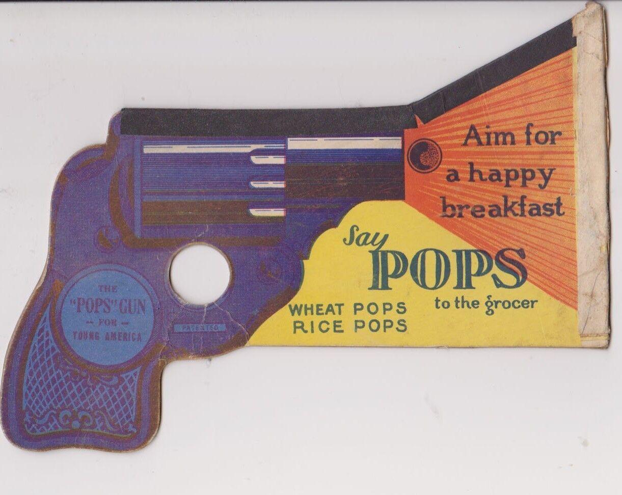 1940s 1950s Jahre Weizen Pops Premium Papier Spielzeug Waffe
