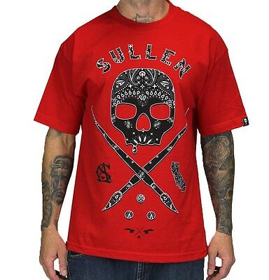 SPRING '14 SULLEN CLOTHING BUCKSHOT SUGAR SKULL ART TATTOO PUNK RED SHIRT S-5XL