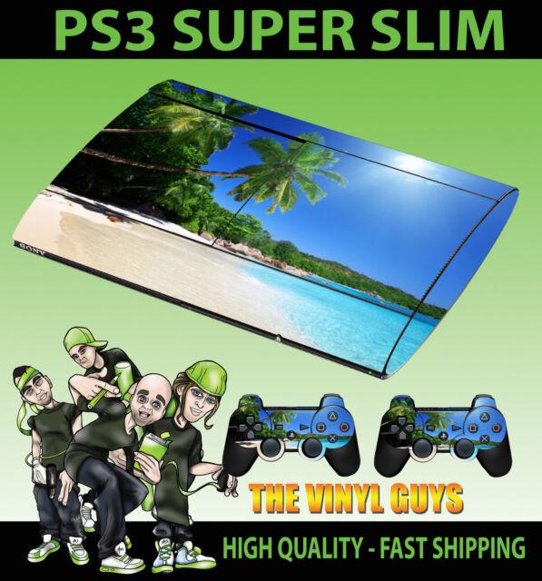 Playstation PS3 SUPER SLIM playa tropical Paraíso Pegatina de Cubierta & 2 pad