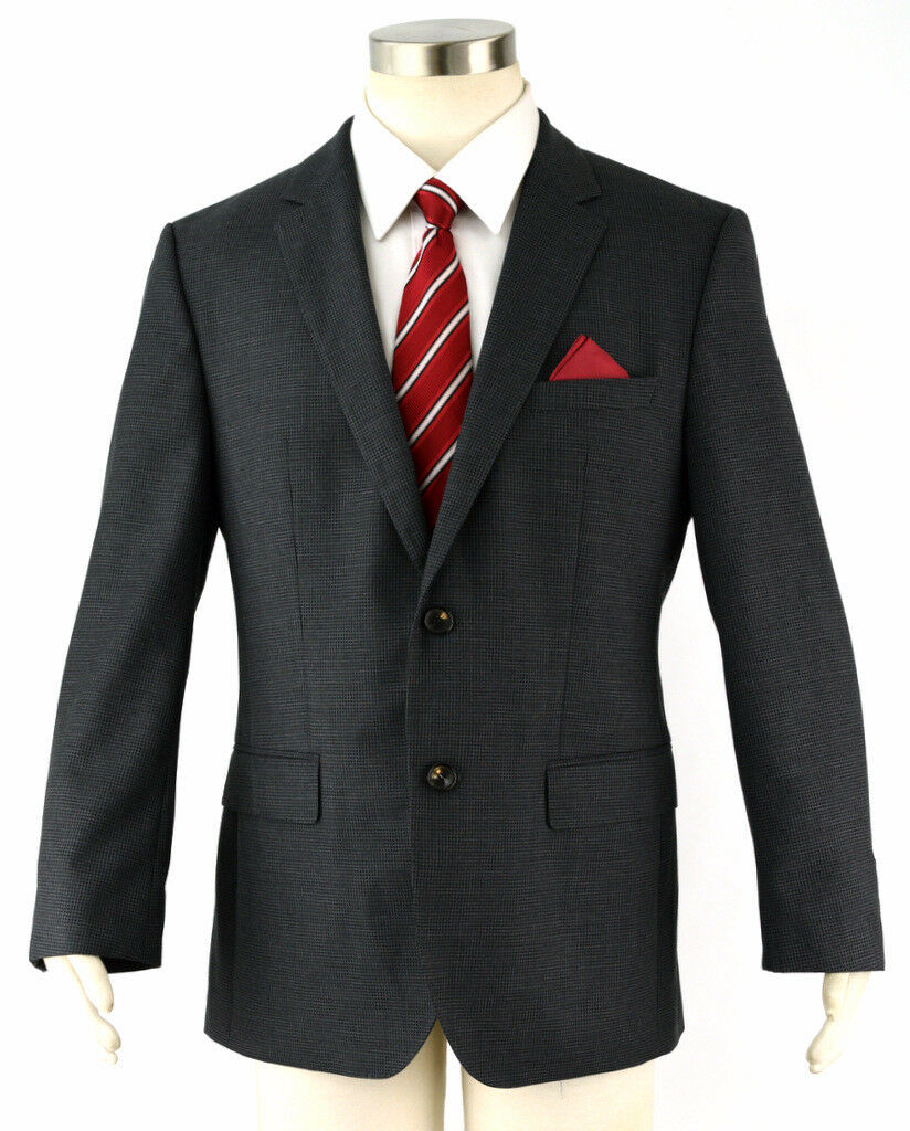 Hugo Boss Grau Kariert Lanificio Tesse Wolle The James4 Slim Sport Mantel Blazer